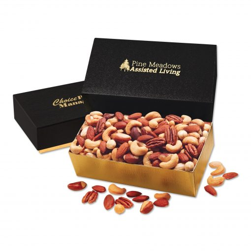 Deluxe Mixed Nuts in Black & Gold Gift Box