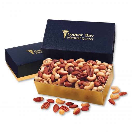 Deluxe Mixed Nuts in Navy & Gold Gift Box
