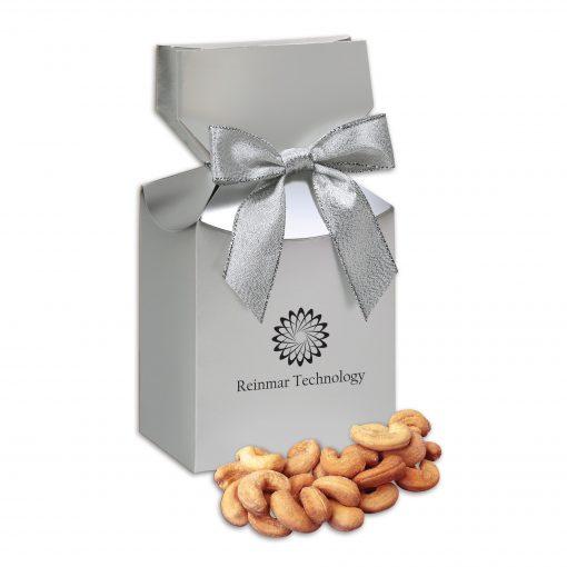 Extra Fancy Jumbo Cashews in Silver Premium Delights Gift Box
