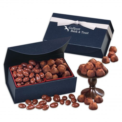 Milk Chocolate Almonds & Cocoa Dusted Truffles in Navy Magnetic Closure Box