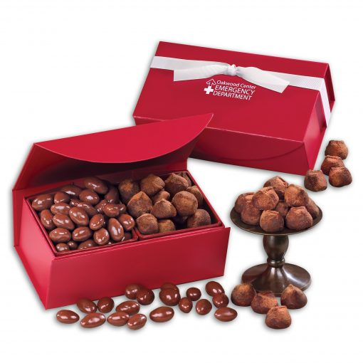 Milk Chocolate Almonds & Cocoa Dusted Truffles in Red Magnetic Closure Box