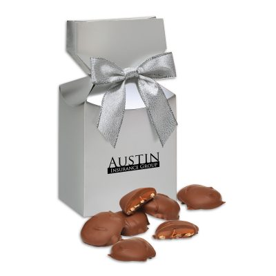 Pecan Turtles in Silver Premium Delights Gift Box