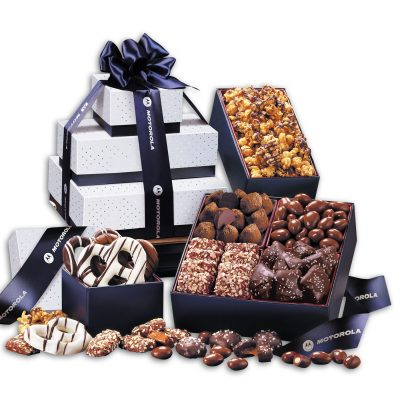 3 Day Express Service! Silver & Navy Tower of Sweets