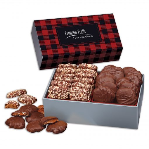 3 Day Express Service! Toffee & Turtles in Gift Box with Red & Black Plaid Sleeve