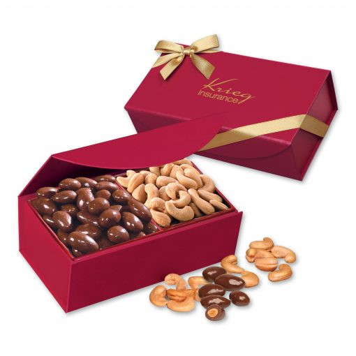 Chocolate Almonds & Cashews in Scarlet Magnetic Closure Box