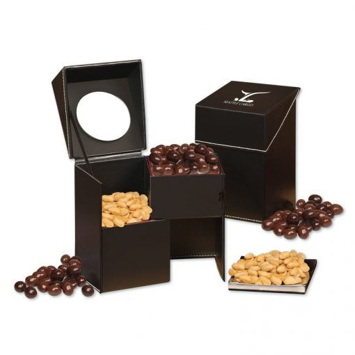 Faux Leather Desktop Storage Box with Virginia Peanuts and Dark Chocolate Almonds