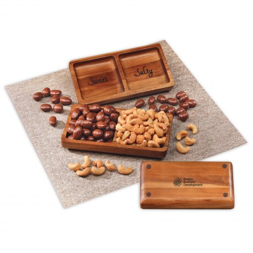 Acacia Tray with Chocolate Almonds & Cashews