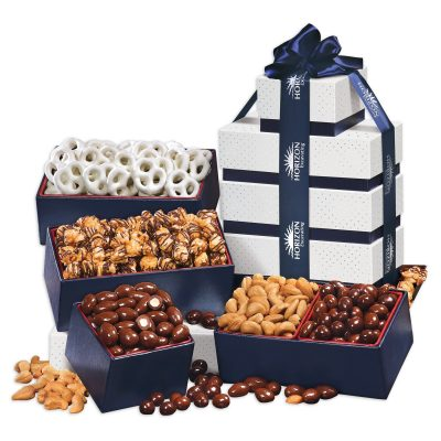 Silver & Navy Tower of Treats
