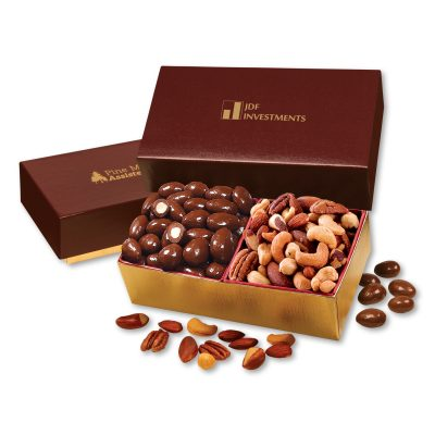 Chocolate Almonds & Deluxe Mixed Nuts in Burgundy & Gold Gift Box