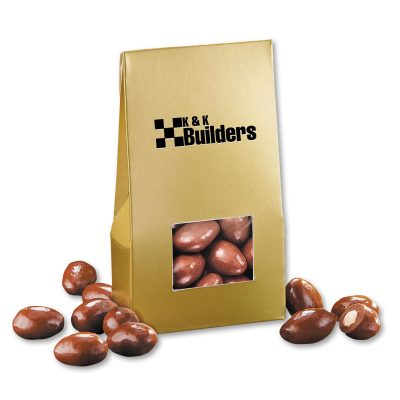 Chocolate Covered Almonds in Gold Petite Rewards Tent Box