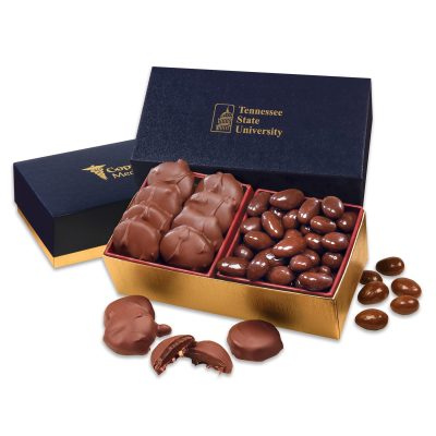Pecan Turtles & Chocolate Almonds in Navy & Gold Gift Box