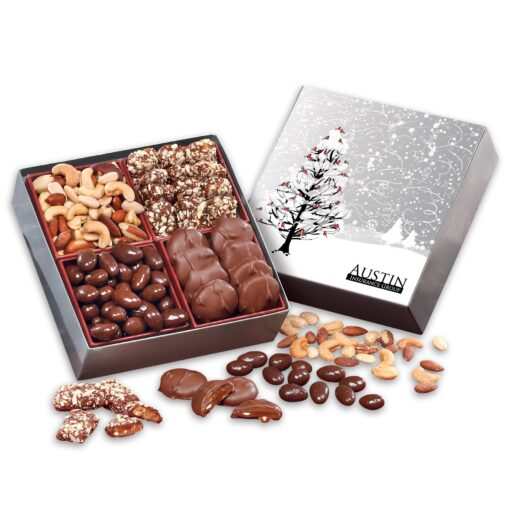Gourmet Holiday Gift Box with Cardinals in Tree Sleeve