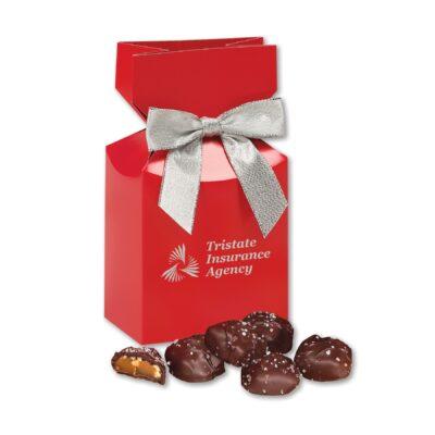 Sea Salt Almond Turtles in Red Premium Delights Gift Box