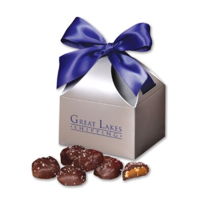 Sea Salt Almond Turtles in Silver Classic Treats Gift Box